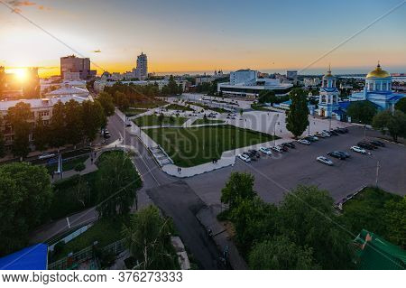 Evening Voronezh Skyline. Aerial View Of Soviet Square