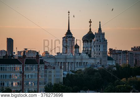 Evening Summer Voronezh Cityscape. Annunciation Cathedral And Tower Of Management Of South-east Rail