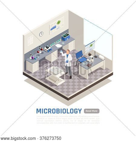 Microbiology Isometric Composition With Male Scientist Researching In Laboratory 3d Vector Illustrat