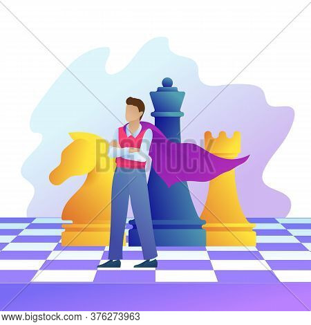 Successful Entrepreneur In Superman Cloak Stands On Chess Board. Concept Of Business Strategy, Manag
