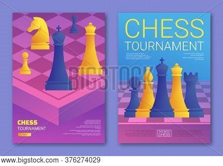 Chess Tournament Cartoon Posters Set. Purple Chessboard With Blue And Yellow Chess Pieces. Chess Cla