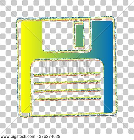 Floppy Disk Sign. Blue To Green Gradient Icon With Four Roughen Contours On Stylish Transparent Back