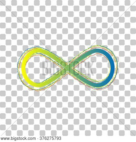 Limitless Symbol Illustration. Blue To Green Gradient Icon With Four Roughen Contours On Stylish Tra