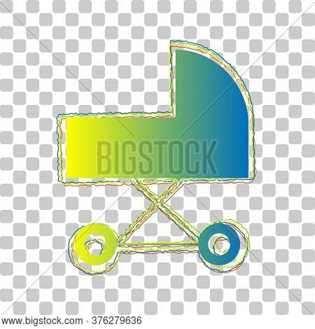 Pram Sign Illustration. Blue To Green Gradient Icon With Four Roughen Contours On Stylish Transparen