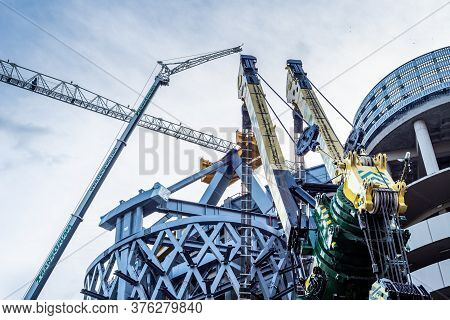 Madrid, Spain - July 12, 2020: Cranes In Use In Santiago Bernabeu Stadium Redevelopment Work