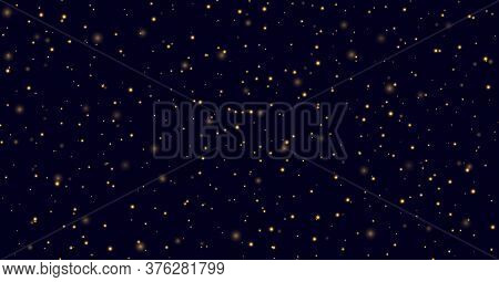 Fireflies Flying In The Night, Yellow Sparkles On A Dark Blue Background. Golden Stardust Light Effe