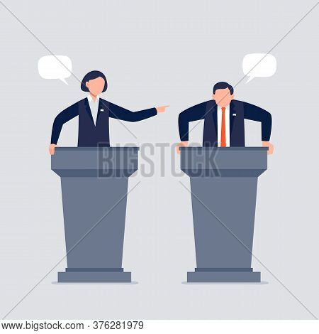 A Woman And Man Taking Part In Debates. Pair Of Government Workers Talking To Each Other, Discussing