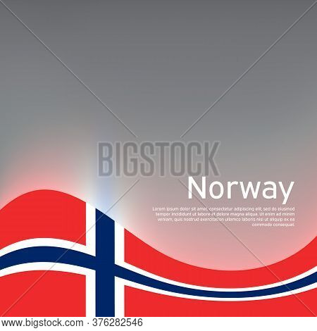 Norway Flag On A Glossy Gray Wavy Background. National Poster Design Of Norway. Business Booklet. St