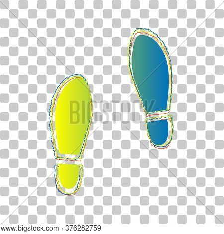Imprint Soles Shoes Sign. Blue To Green Gradient Icon With Four Roughen Contours On Stylish Transpar
