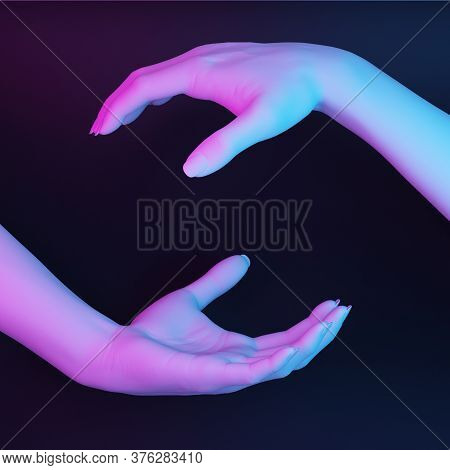 Gesture With Two White Hands Holding An Invisible Pink Blue Color. 3d Rendering