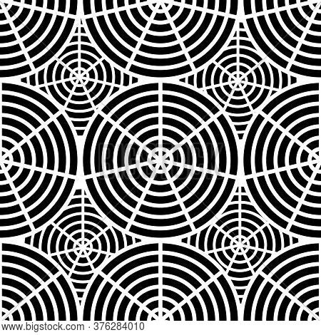 Seamless Black And White Pattern Of The Web. The Pattern Of The Web. Design For Halloween, Holidays.