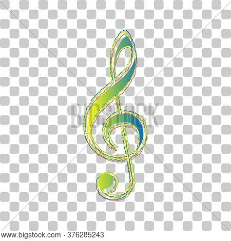 Music Violin Clef Sign. G-clef. Treble Clef. Blue To Green Gradient Icon With Four Roughen Contours