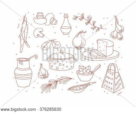 Big Set Of Products And Ingredients For Cooking Dinner Vector Illustration. Casserole, Grater, Mushr