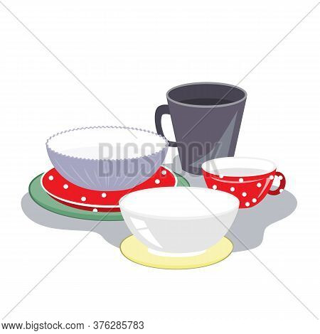 Ceramic Plates, Mugs, And Bowls Of Different Shape And Color On A White Background, Vector Illustrat