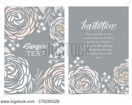 Vector Illustration Of Ranunculus Flower. Backgrounds With White Flowers. Set Of Greeting Cards