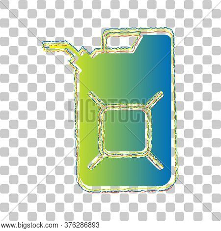 Jerrycan Oil Sign. Jerry Can Oil Sign. Blue To Green Gradient Icon With Four Roughen Contours On Sty