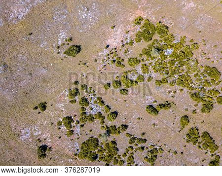 Top Down Aerial View Of Calcareous Limestone Karst Landscape Of Causse Noir In Cevennes France