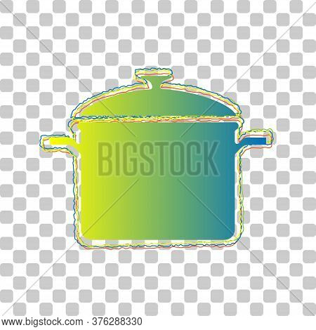 Cooking Pan Sign. Blue To Green Gradient Icon With Four Roughen Contours On Stylish Transparent Back