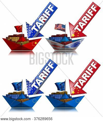 Usa, China And Europe Union Trade War Concept. Four Cargo Container Ships With National Flags And Ar