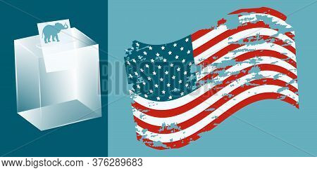 Usa Flag In Grunge Style, Ballot Box, Ballot Paper With Republican Symbol - Elephant - Vector. Presi