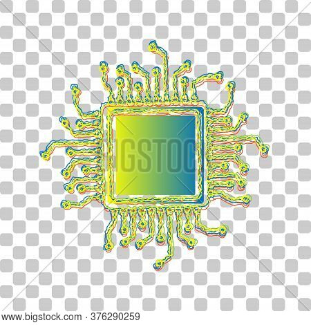 Cpu Microprocessor Illustration. Blue To Green Gradient Icon With Four Roughen Contours On Stylish T