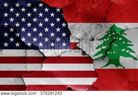 Flags Of Usa And Lebanon Painted On Cracked Wall