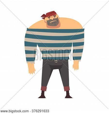Bearded Brutal Muscular Pirate, Male Buccaneer Cartoon Character Vector Illustration