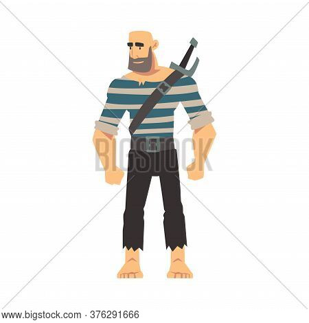 Bearded Brutal Pirate With Sword, Male Buccaneer Cartoon Character Vector Illustration