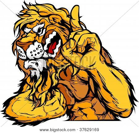Lion Mascot Body Vector Cartoon