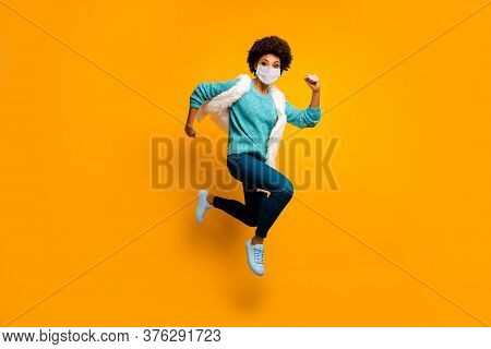 Full Length Body Size View Of Her She Attractive Healthy Active Purposeful Girl Wearing Mask Jumping