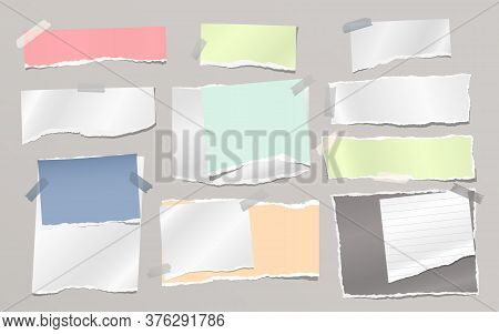 Torn Of White And Colorful Note, Notebook Paper Strips And Pieces Stuck With Sticky On Grey Backgrou