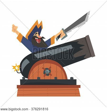 Brave Pirate With Saber Sitting On Gun, Male Buccaneer Cartoon Character Vector Illustration