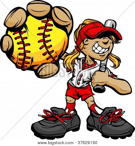 Kid Softball Player Holding Baseball And Bat