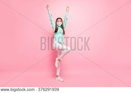 Full Length Body Size View Of Her She Nice Attractive Healthy Girl Wearing Safety Mask Celebrating F