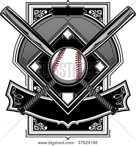 Baseball Or Softball Field With Bats Ornate Graphic Vector Template