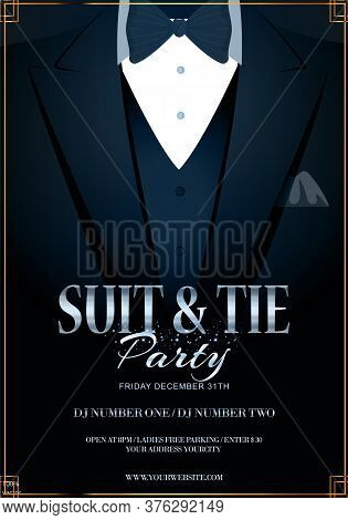 Vector Eps 10 Illustration Of Dark Blue Tuxedo With Black Bow Tie. Bachelor Or Vip Party Invitation