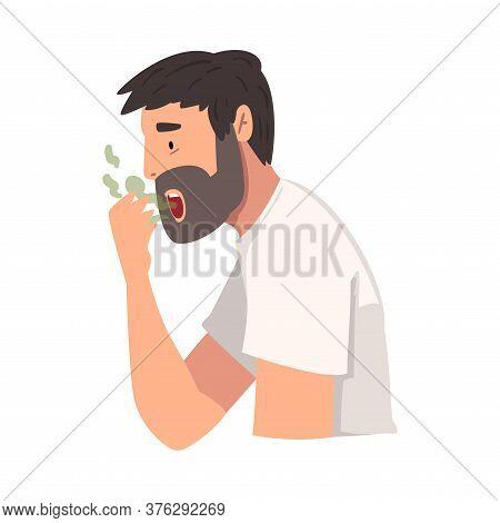 Young Man Having Bad Breath, Guy Having Body Odor Problem Vector Illustration
