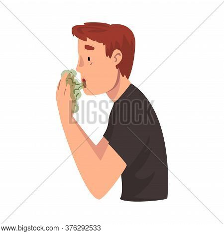 Guy Having Bad Breath, Guy Having Body Odor Problem Vector Illustration