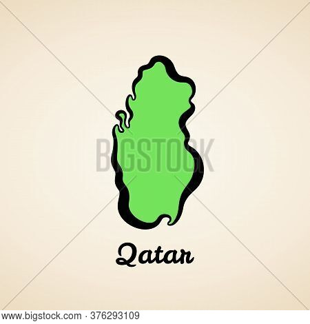 Green Simplified Map Of Qatar With Black Outline.