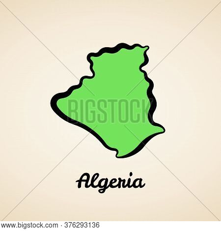 Green Simplified Map Of Algeria With Black Outline.