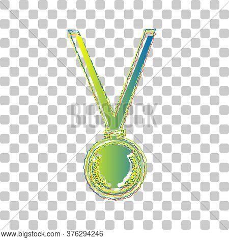 Medal Simple Sign. Blue To Green Gradient Icon With Four Roughen Contours On Stylish Transparent Bac