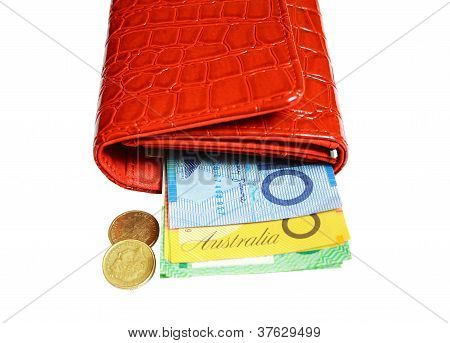 Wallet filled with Australian banknotes and coins