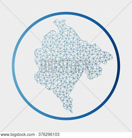 Montenegro Icon. Network Map Of The Country. Round Montenegro Sign With Gradient Ring. Technology, I