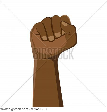 Raised Fist. Clenched Fist Black Leather. The Concept Of International Unity And Cooperation.