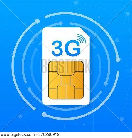 3g Sim Card. Mobile Telecommunications Technology Symbol. Vector Illustration