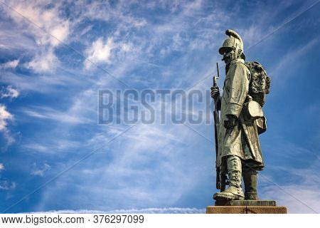 Habsburg Monument Of The Napoleonic Wars With An Austrian Soldier (1809) In Tarvisio, Friuli-venezia