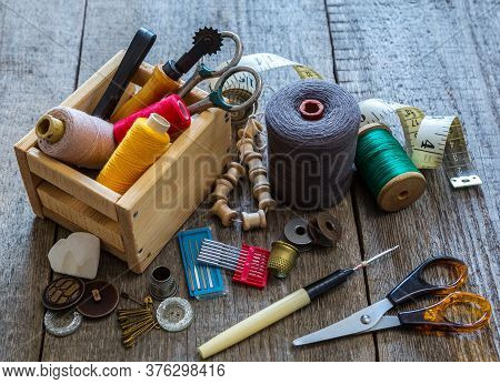 Sewing Tools And Accessories For Sewing Threads, Spools, Scissors, Buttons, Needles, Pin And Tailor