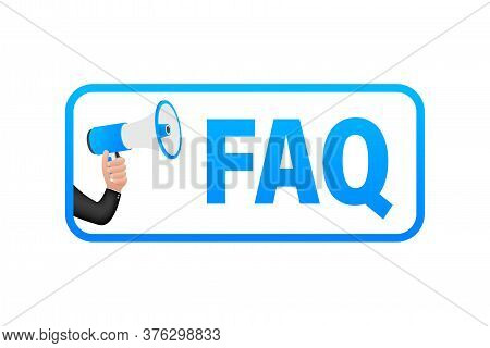 Frequently Asked Questions Faq Banner. Computer With Question Icons. Vector Illustration.