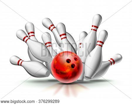 Red Bowling Ball Crashing Into The Pins. Illustration Of Bowling Strike Isolated On White Background