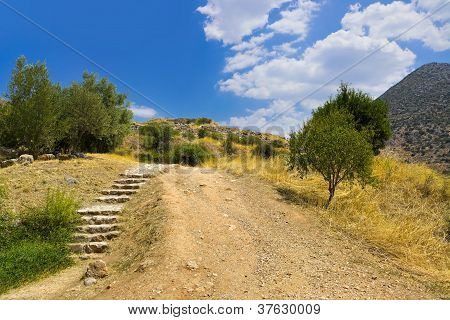 Pathway to Mycenae ruins Greece - travel background poster